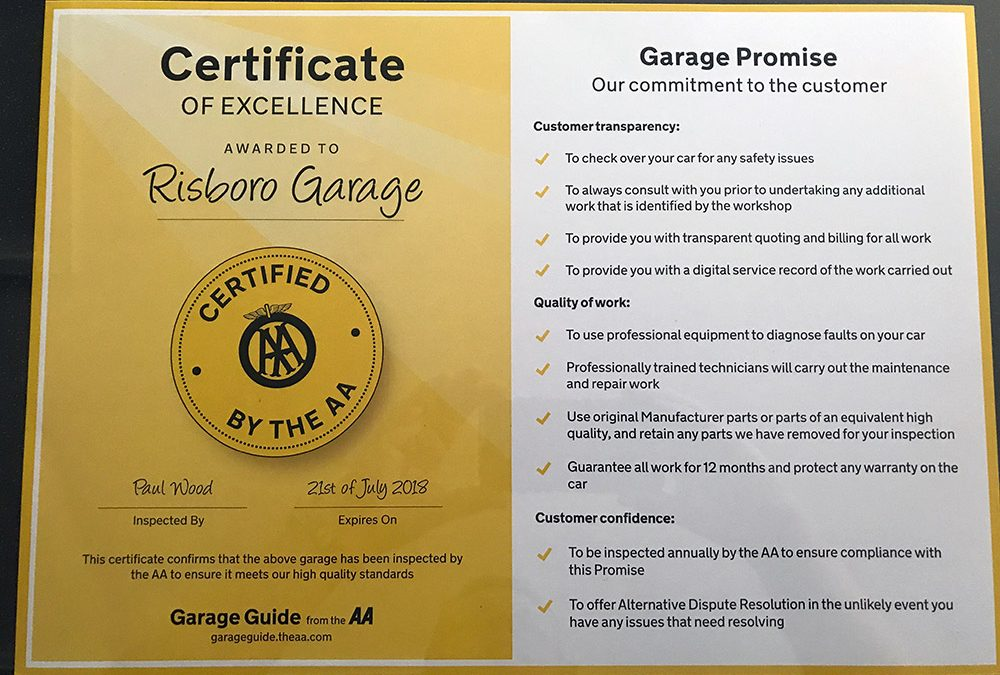 AA Certificate of Excellence